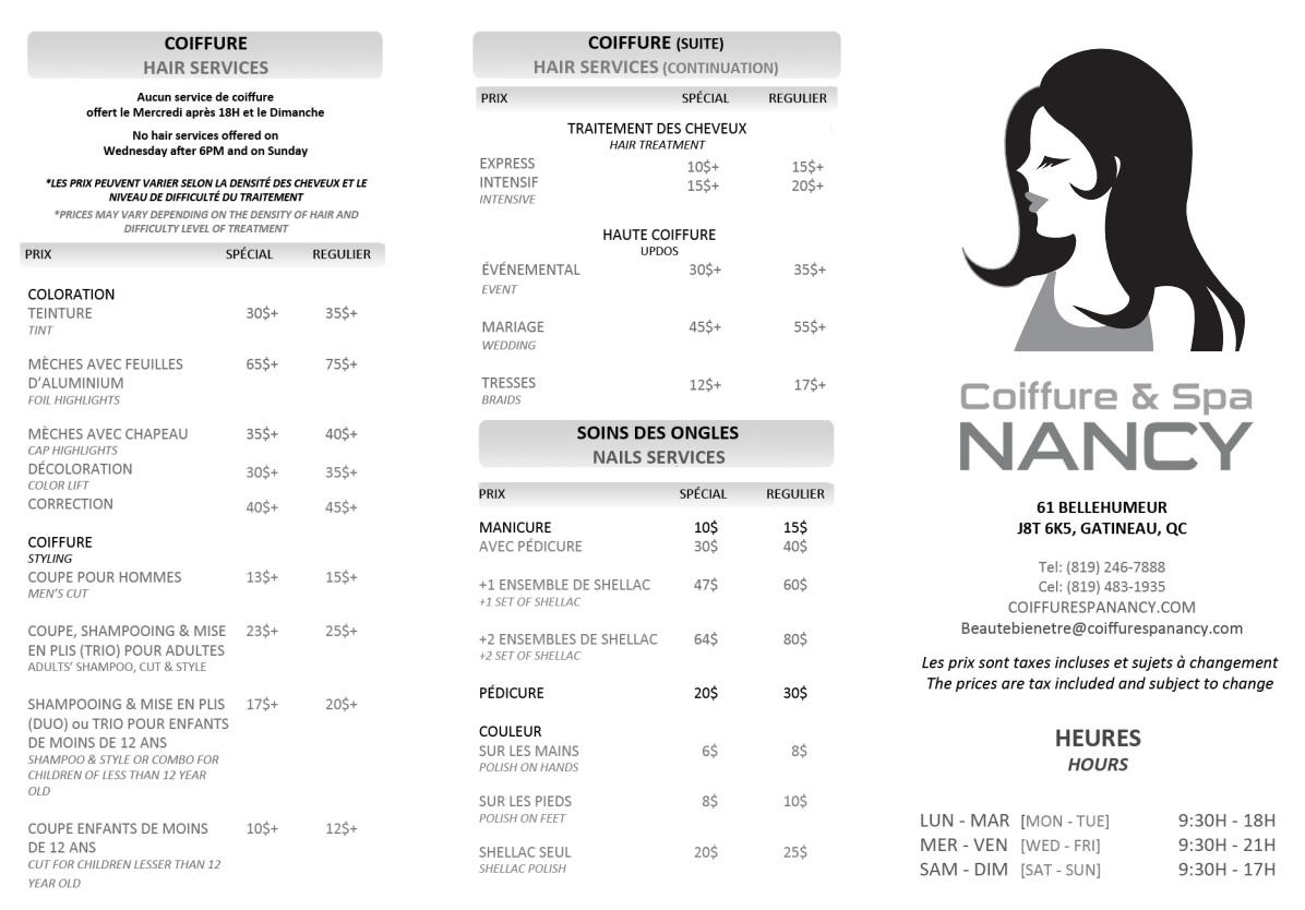 Coiffure spa nancy for Prix salon de coiffure